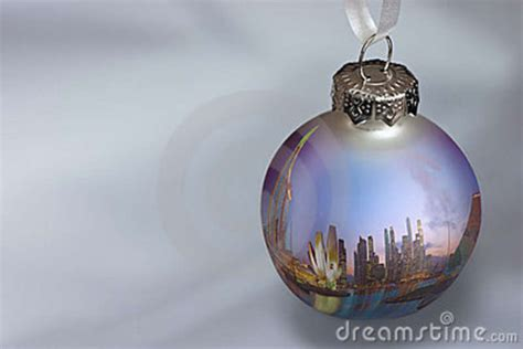 christmas ornament with singapore reflection 1 stock image