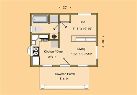 tiny home floorplans cozyhomeplans com 320 sq ft tiny house floor plan quot skyligh