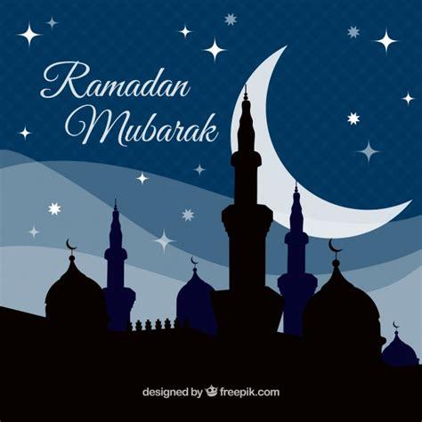 Ramadan Mubarok background of ramadan mubarak of mosque silhouette vector