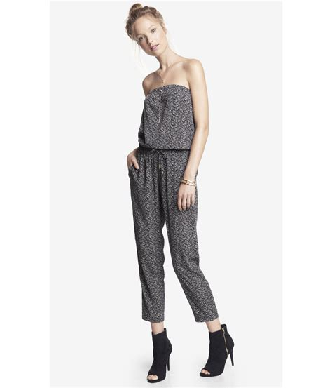 black pattern jumpsuit express strapless printed jumpsuit in black black pattern