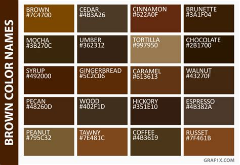 color brown in list of colors with color names graf1x