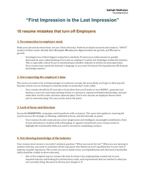 Resume Mistakes by 10 Resume Mistakes That Turn Employers