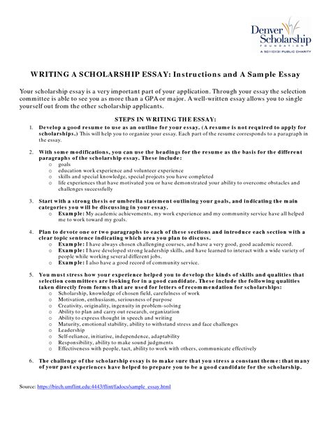Scholarship Essay Exles Goals Exle Of Scholarship Essays