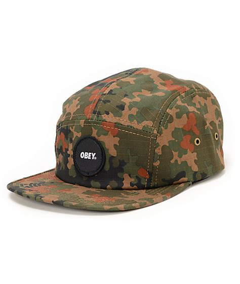 Obey Camo obey circle patch camo 5 panel hat