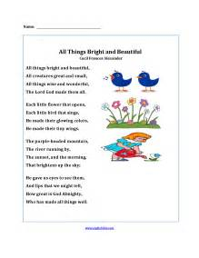 poetry worksheets all things bright and beautiful poetry