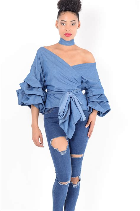Top Ruffle blue ruffle top fashion dresses