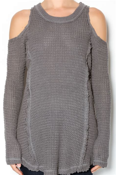 Import Peek A Boo Sweater elan waffle cold shoulder sweater from south dakota by