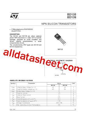 datasheet transistor npn bd139 bd139 datasheet pdf stmicroelectronics