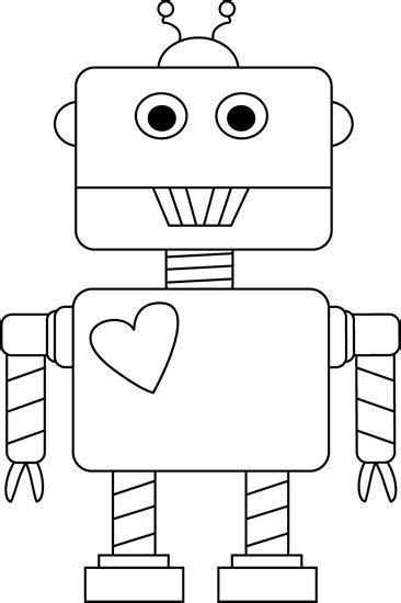 Black And White Valentine S Day Robot Clip Art Valentine S Day Pinterest Black Robots And Robot Craft Template