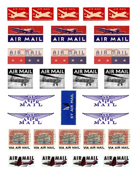 Printable Airmail Stickers | airmail sts random creativity