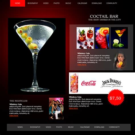 Nightclub Bar Website Template 0867 Entertainment Media Website Templates Dreamtemplate Free Bar Website Template
