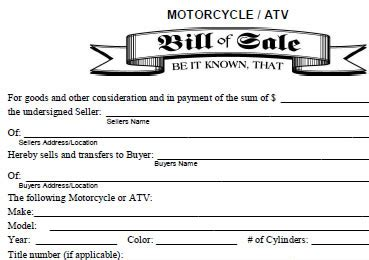 pin blank bill of sale form for atv on