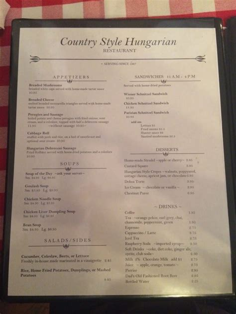 country style hungarian restaurant menu menu page 1 yelp