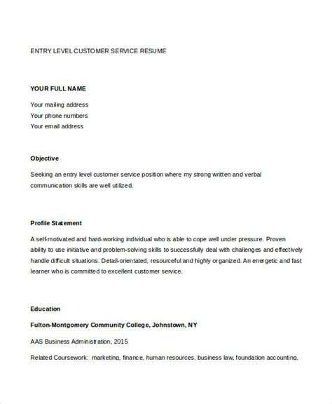 Entry Level Customer Service Resume by 11 Customer Service Resume Templates Pdf Doc Free