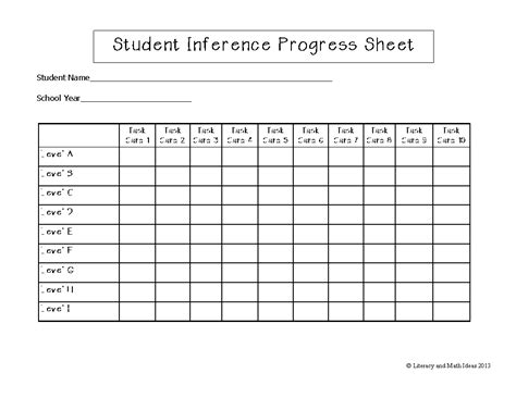 tracking student progress template literacy math ideas task cards organized by guided