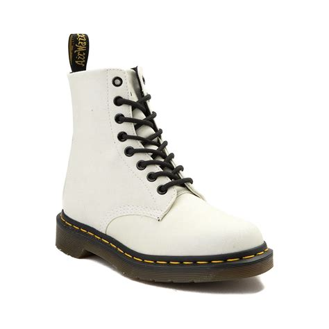 Boots Gliter White Womens Dr Martens Pascal 8 Eye Glitter Boot White