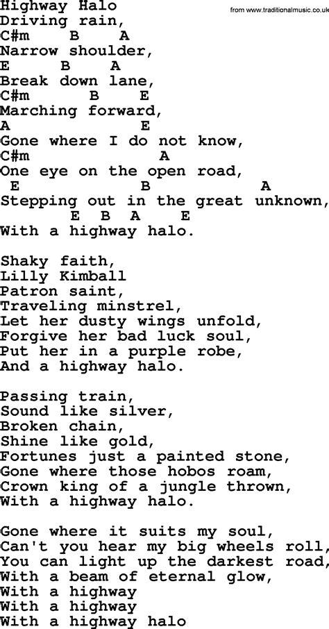 halo lyrics highway halo bluegrass lyrics with chords
