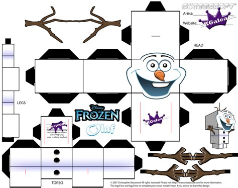 Disney Papercraft Templates - cubeecraft template of olaf from disney s frozen by