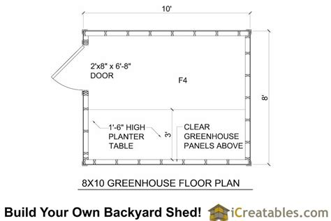 10 By 8 Floor Plan - wood greenhouse plans 10x12 greenhouse shed plans