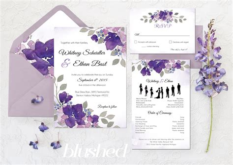 wedding details card template purple crouch blushed design quot garden quot floral