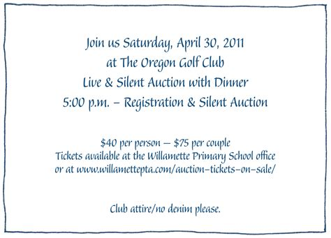Sle Invitation Letter For Pta Meeting Auction Tickets On Sale