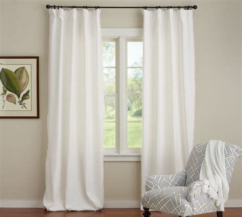 cotton linen curtains emery linen cotton drape pottery barn white or ivory
