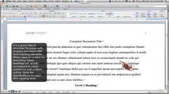 formatting apa style using headings ms word for mac
