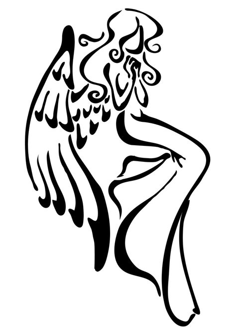 simple angel tattoo clipart best