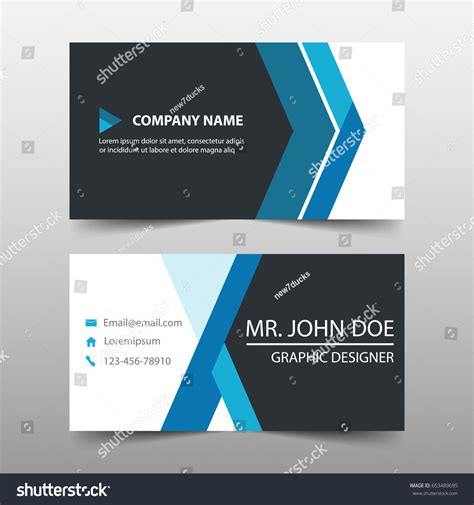 blue card template blue corporate business card name card stock vector