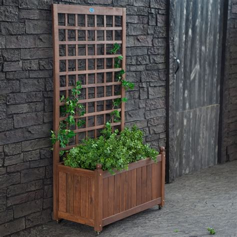 large and tall wood herb planter box with trellis and
