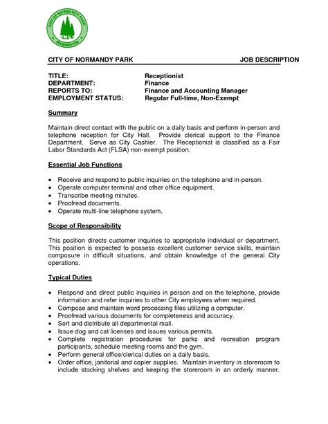 Resume Sle For Receptionist by Resume Format For Receptionist Beautiful Receptionist Description Resume Sle Cover