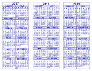 Calendar 2018 And 2019 2017 2018 2019 3 Year Calendar