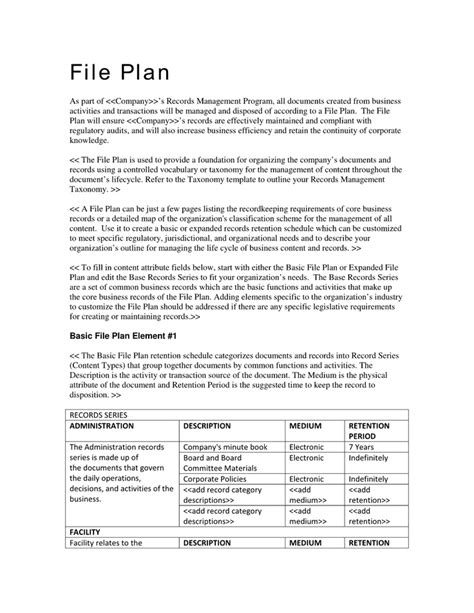 Records Management File Plan Template professional