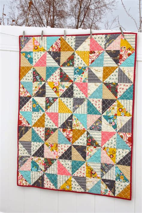 Square Patchwork Patterns - half square triangle baby quilt pattern