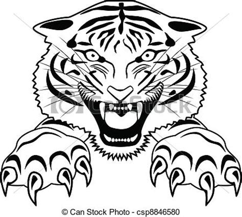 vector clipart of tiger tattoo vector illustration of