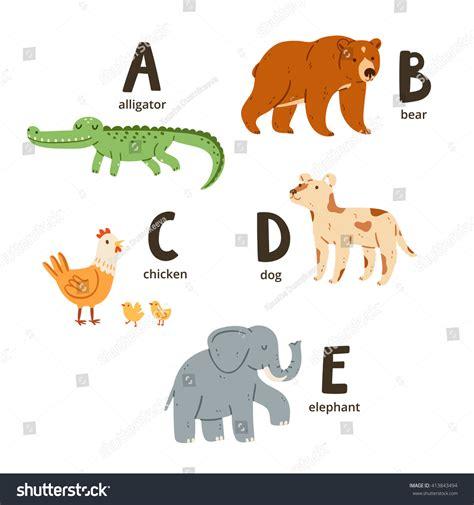 animal alphabet stock vector animal alphabet letters e vector illustrations stock