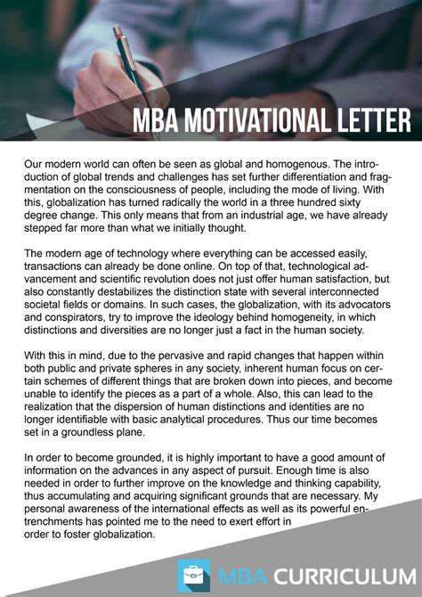 Mba Applications Ask Income by Mba Application Motivation Letter Sle Bag The Web