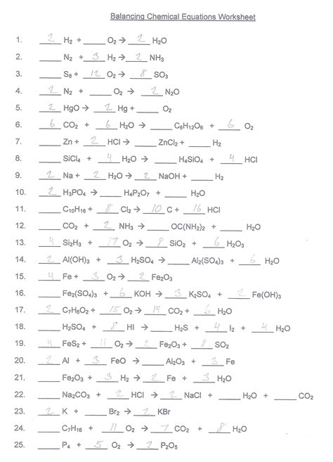Balancing Chemical Equations Worksheet Middle School by Balancing Chemical Equations Worksheet Answer Key