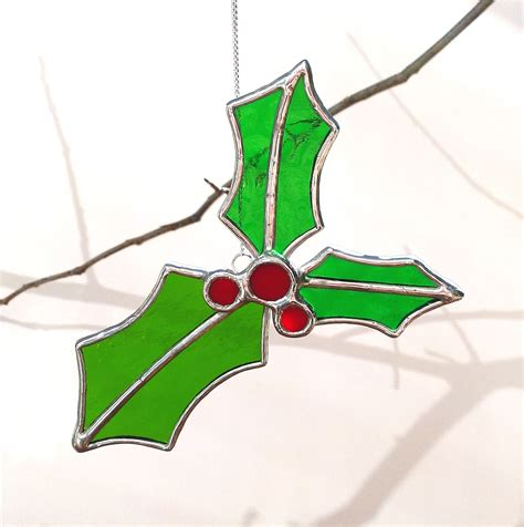 stained glass christmas holly christmas ornament