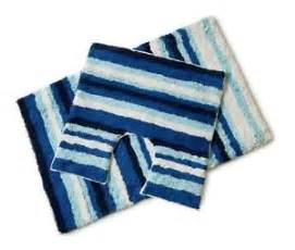 100 cotton 2pc white blue navy stripe padestal bath