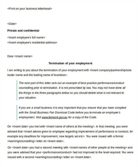 Letter Of Agreement For Performers sle termination letter employee poor performance