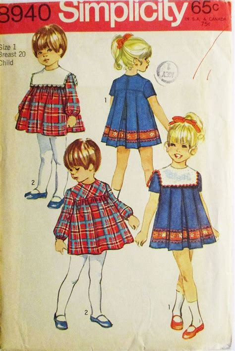vintage pattern sizing 1970s vintage sewing pattern simplicity 8940 childs dress