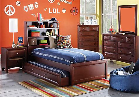 rooms to go bedroom league cherry 5 pc bookcase bedroom bedroom sets