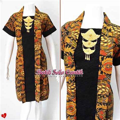 Gamis Dress Batik Sogan baju kerja model batik sogan daniyanti
