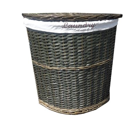 Wicker Corner Laundry Basket With Lid Linning Bathroom Corner Laundry With Lid
