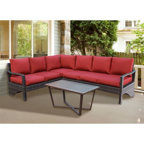 home depot outdoor sectional augusta 5 piece wicker outdoor sectional set with red