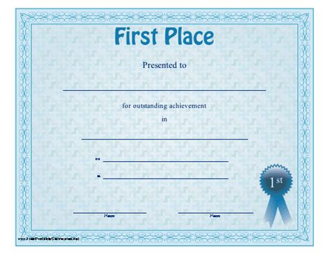 free printable first prize winner certificate award ppt