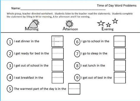 Morning Worksheets by Morning Afternoon Evening Worksheet Kindergarten Images