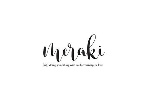 hand lettered meraki meaning digital print
