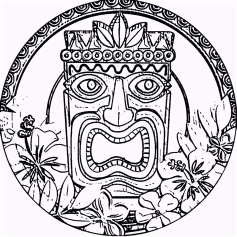 hawaiian coloring pages hawaiian tiki mask coloring pages